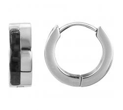 Boucles d'oreilles créoles acier et carbone noir by Stauffer