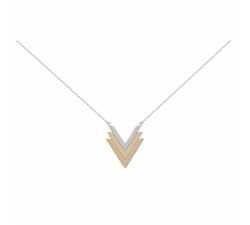 Collier acier, PVD jaune, PVD rose motif V PHEBUS ACIER 872-074.R-J