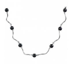 Collier acier et céramique noire CERANITY STEEL 873-020.N