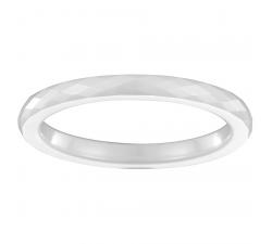 Bague céramique blanche facetée, 2 mm CERANITY STEEL