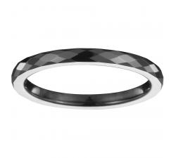Bague céramique noire facetée, 2 mm CERANITY STEEL