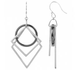 Boucles d'oreilles pendantes acier et céramique noire, CERANITY STEEL 904-093.N
