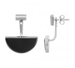 Boucles d'oreilles pendantes acier et céramique noire, CERANITY STEEL 904-094.N