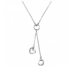 Collier Y acier et céramique blanche, 3 motifs CERANITY STEEL 907-009.B