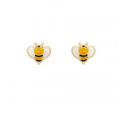 Boucles d'oreilles abeilles, or jaune 375/1000 et émail by Stauffer