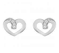 Boucles d'oreilles argent 925/1000 et oxydes de zirconium, coeurs by Stauffer