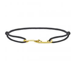 Bracelet LOVE 33mm Acier PVD jaune avec lien Cordon 1mm Gris ROCHET B216700