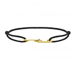 Bracelet LOVE 33mm Acier PVD jaune avec lien Cordon 1mm Noir ROCHET B216701