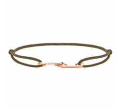 Bracelet LOVE 33mm Acier PVD rose avec lien Cordon 1mm Taupe ROCHET B216940