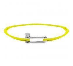 Bracelet MILA 17mm Acier Cordon Coton 1mm Jaune Fluo ROCHET B25602549