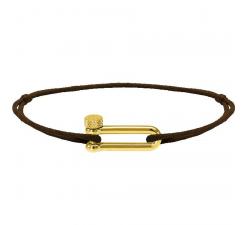 Bracelet MILA 17mm PVD Jaune Cordon Coton 1mm Chocolat ROCHET B25672503