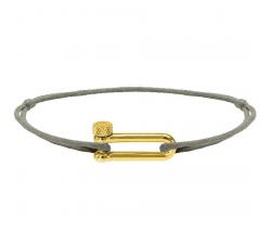 Bracelet MILA 17mm PVD Jaune Cordon Coton 1mm Taupe ROCHET B25672540