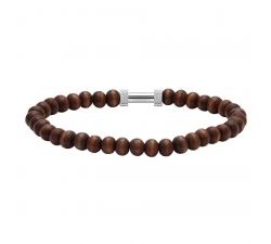 Bracelet ZEN Perles 6mm Bois Acier Moleté ROCHET B266303