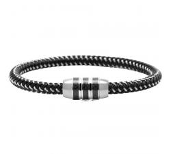 Bracelet LOCKER Acier/Carbone Noir & Acier Tressé 5mm ROCHET B360501