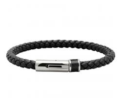 Bracelet LOCKER Acier/Carbone/Cuir Noir Tressé 5mm ROCHET B3605101