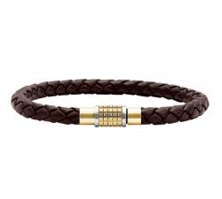 Bracelet GRIP Acier & PVD Jaune/Cuir Marron Tressé 5mm ROCHET B3705703L