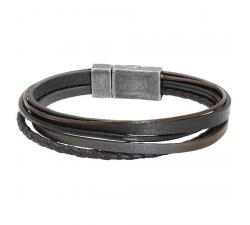Bracelet ARIZONA 25mm Acier Gun 5 x Liens Cuir Marron/Noir ROCHET B39015011