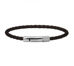 Bracelet DRIVER 28mm Acier et lien tressé 3,5mm Marron ROCHET HB1430303