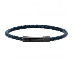 Bracelet DRIVER 28mm PVD Noir et Lien Tressé 3,5mm Cuir Marine ROCHET HB1431306