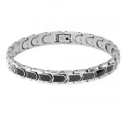Bracelet Acier BULLIT 8mm Acier et Carbone ROCHET HB44812