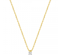 Collier or bicolore 750/1000 et diamant 0,20 carat by Stauffer