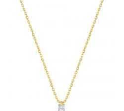 Collier or bicolore 750/1000 et diamant 0,20 carat by Stauffer