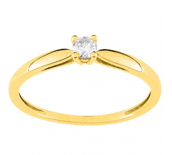 Bague or jaune 750/1000 et diamant 0,10 carat by Stauffer
