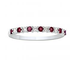 Alliance or gris 750/1000, rubis et diamants by Stauffer