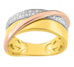 Bague or tricolore 750/1000 et diamants by Stauffer