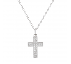 Collier or gris 375/1000 croix et oxydes de zirconium by Stauffer