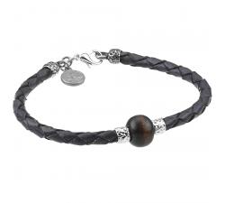 Bracelet cuir gris et bois de noyer GREENTIME ZWB225C