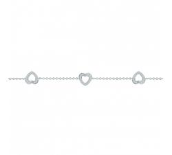 Bracelet argent 925/1000, 3 coeurs et oxydes de zirconium by Stauffer