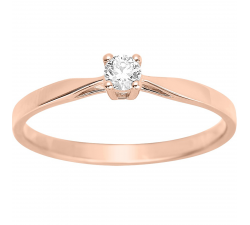Bague solitaire or rose 750/1000 et diamant 0,10 carat by Stauffer