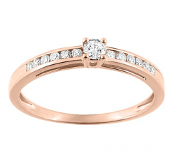 Bague solitaire accompagné or rose 750/1000 et diamant 0,21 carat by Stauffer