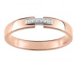 Alliance or rose et or gris 750/1000 et diamants 0,02 carat by Stauffer