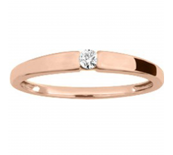 Bague solitaire or rose 750/1000 et diamant 0,06 carat by Stauffer