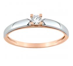 Bague solitaire or rose et or gris 750/1000 et diamant 0,095 carat by Stauffer
