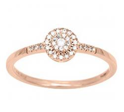 Bague solitaire accompagné or rose 750/1000 et diamants 0,10 carat by Stauffer