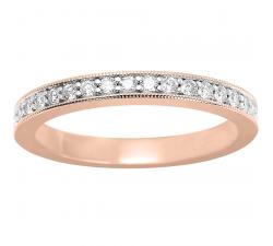 Alliance or rose et or gris 750/1000 et diamants 0,27 carat by Stauffer
