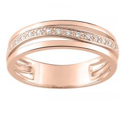 Alliance or rose 750/1000 et diamants 0,08 carat by Stauffer