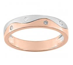 Alliance or rose et or gris 750/1000 et diamants 0,06 carat by Stauffer