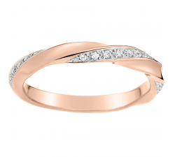 Alliance or rose et or gris 750/1000 et diamants 0,10 carat by Stauffer