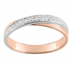 Alliance or rose et or gris 750/1000 et diamants 0,03 carat by Stauffer