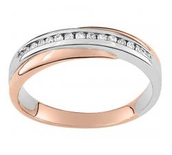 Alliance or rose et or gris 750/1000 et diamants 0,13 carat by Stauffer