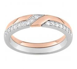 Alliance or rose et or gris 750/1000 et diamants 0,16 carat by Stauffer