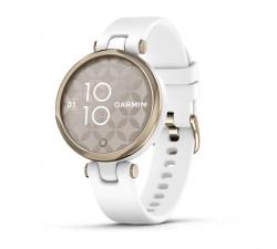 Montre Garmin Lily™ Lunette Cream Gold avec boîtier blanc et bracelet en silicone blanc 010-02384-10