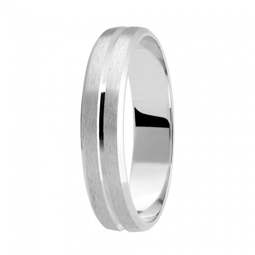 Alliance or gris palladié 750/1000, filet au centre, bord chanfreiné largeur 4,5 mm