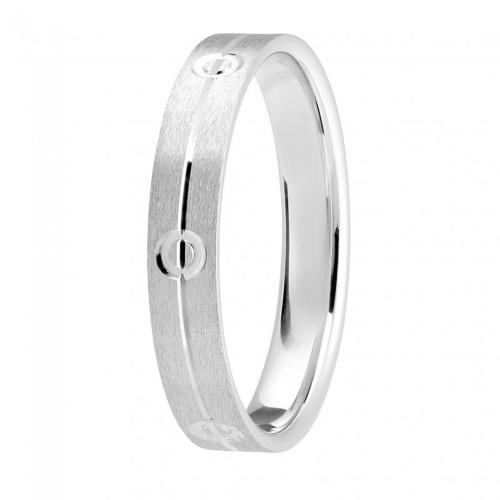 Alliance or gris palladié 750/1000, liseret et cercles largeur 4 mm