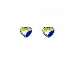 Boucles d'oreilles coeur argent 925/1000 et Swarovski elements Indicolite PU-LISA-001AB