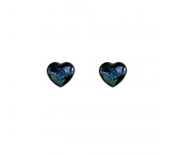 Boucles d'oreilles coeurs argent 925/1000 et Swarovski elements Indicolite PU-LISA-266